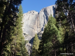 Yosemite National Park. Yosemite Falls without woter